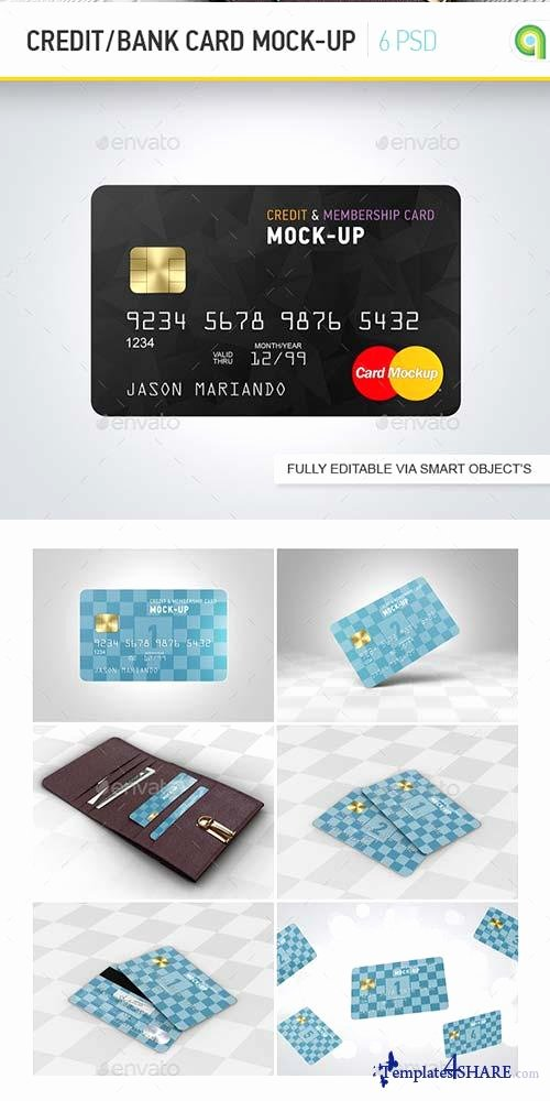 Credit Card Photoshop Template Beautiful Graphicriver Credit Bank Card Mock Up Templates4share