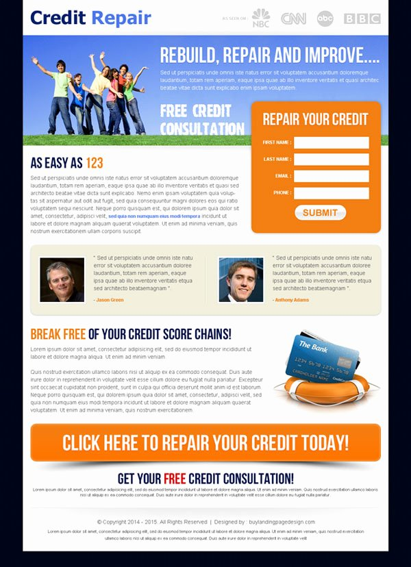 Credit Repair Flyer Template Lovely Clean Landing Page Design for Best Conversion Leads & Sales
