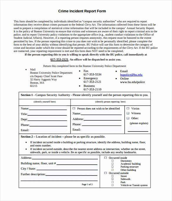 Crime Scene Report Template Fresh 11 Sample Crime Reports Pdf Word
