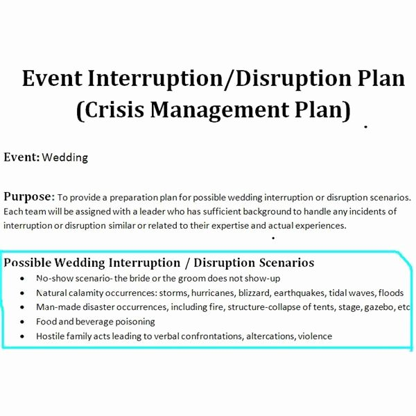 Crisis Management Plan Template Awesome Study Of A Crisis Management Plan Sample for A Wedding event