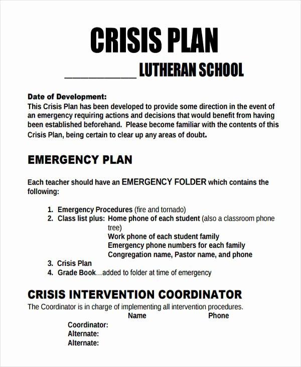 Crisis Management Plan Template Beautiful 10 Crisis Plan Templates Sample Word Google Docs