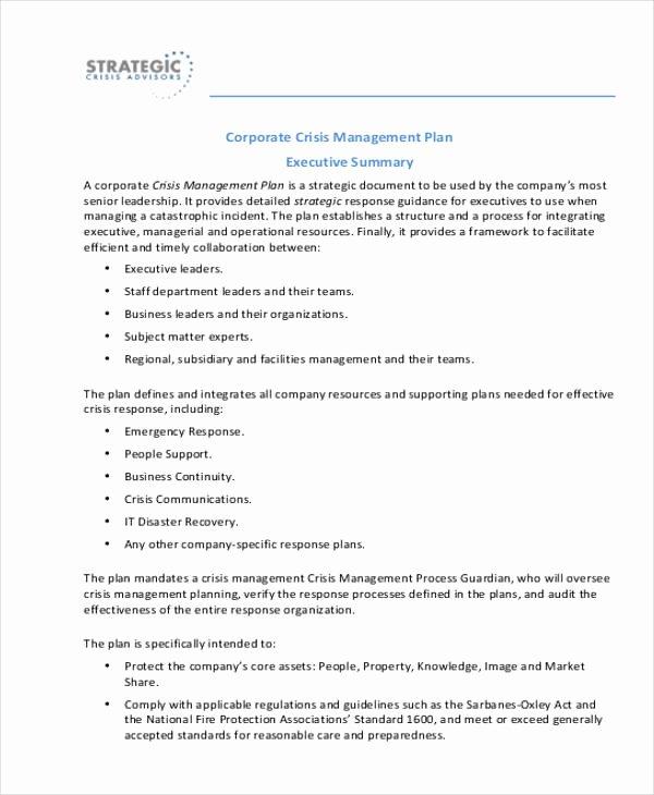 Crisis Management Plan Template Beautiful Crisis Management Plan Templates 10 Free Word Pdf