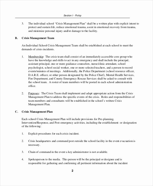 Crisis Management Plan Template Elegant Crisis Plan Template 9 Free Word Pdf Documents