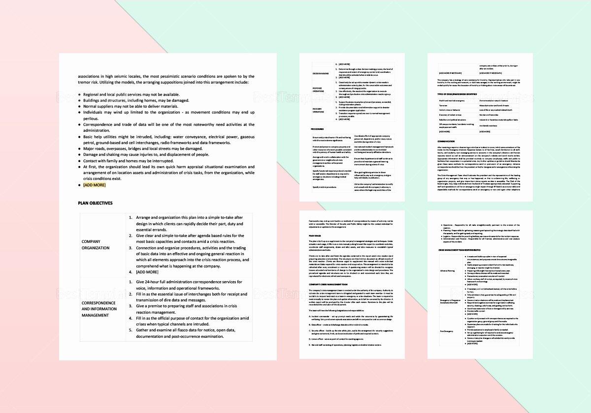 Crisis Management Plan Template Lovely Crisis Management Plan Template In Word Apple Pages