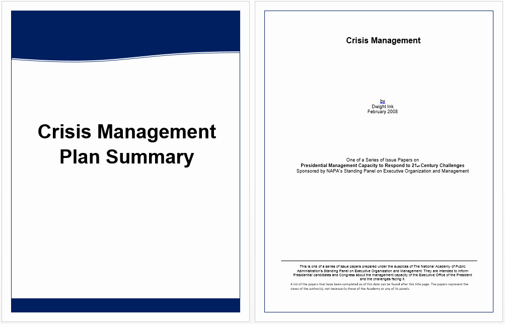 Crisis Management Plan Template Lovely Executive Summary Template for Crisis Management