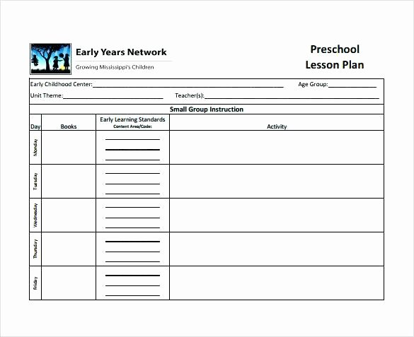 Curriculum Template for Teachers Awesome Preschool Lesson Plan Template More Weekly Planning form