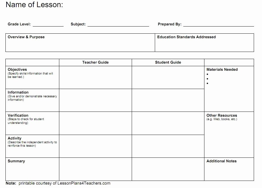 Curriculum Template for Teachers Elegant Blank Lesson Plans for Teachers