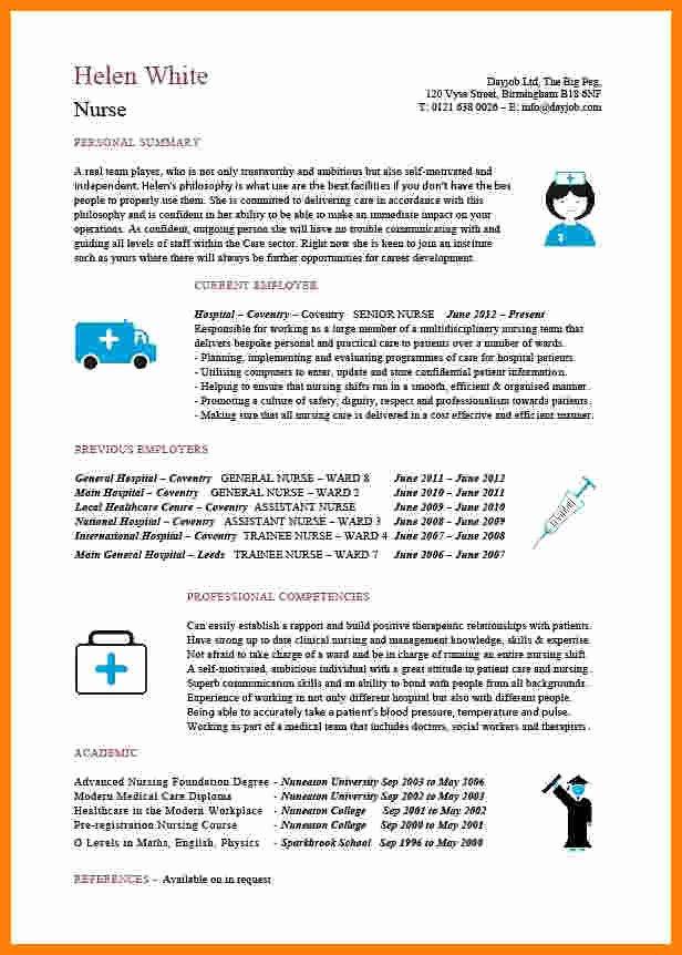 Curriculum Vitae Nursing Template Elegant 8 Cv Nurse Template