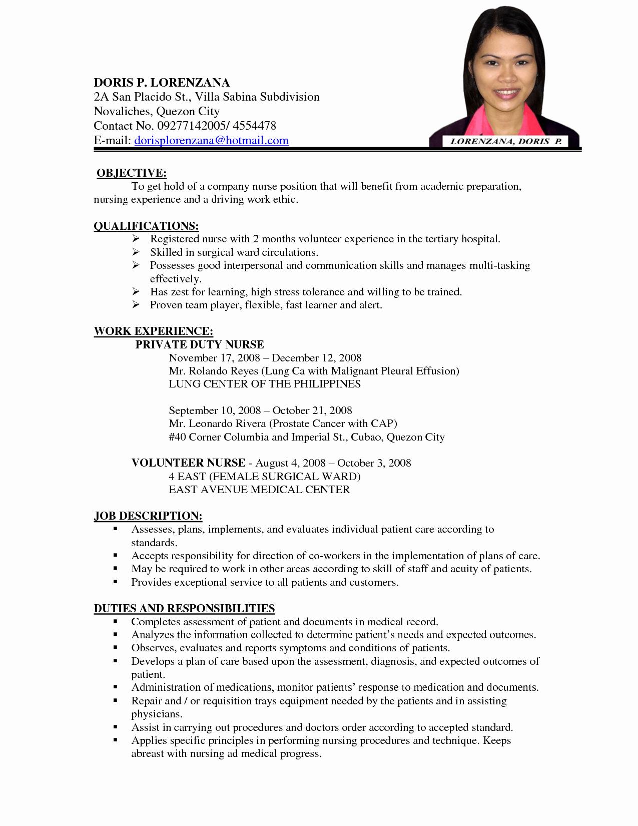 Curriculum Vitae Nursing Template Elegant Image Result for Curriculum Vitae format for A Nurse