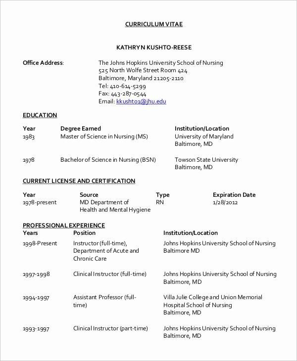 Curriculum Vitae Nursing Template Fresh 8 Nursing Curriculum Vitae Templates Free Word Pdf