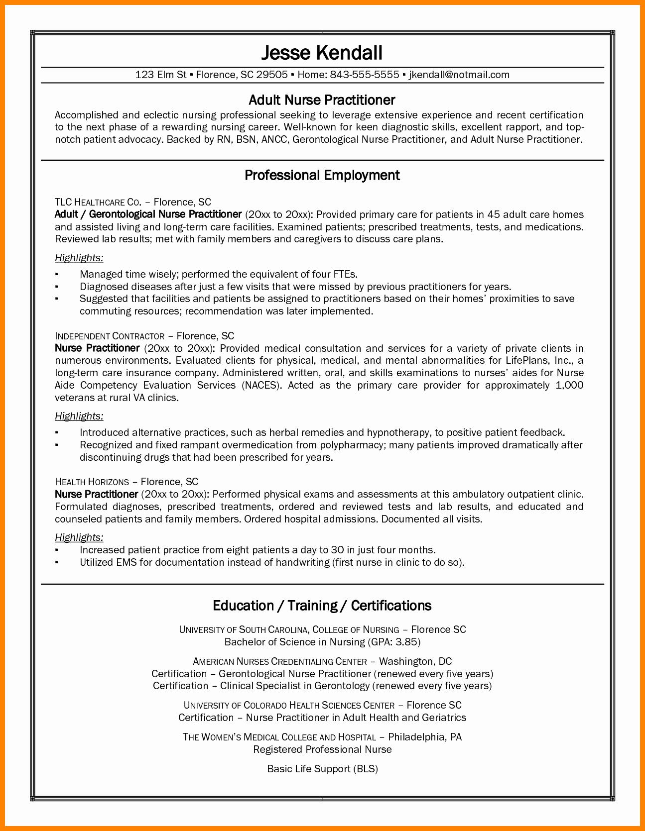 Curriculum Vitae Nursing Template Fresh 9 Cv Nurse Practitioner