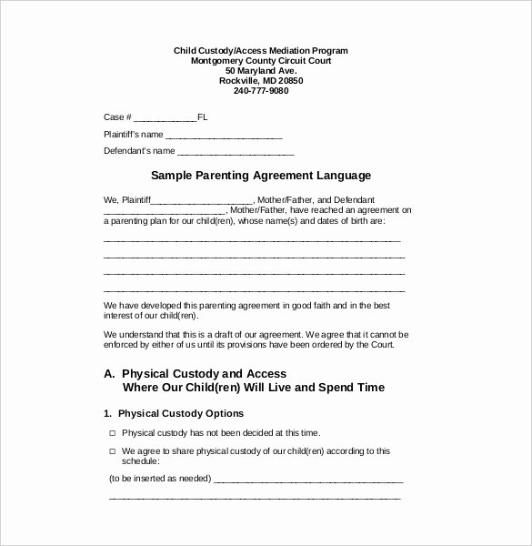 Custody Holiday Schedule Template Awesome Custody Agreement Template – 10 Free Word Pdf Document