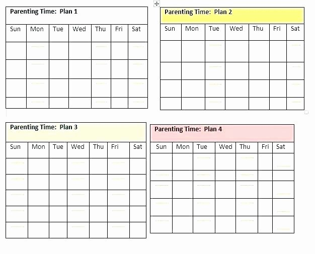 Custody Holiday Schedule Template Awesome Parenting Schedule Template Custody Agreement Example