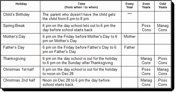 Custody Holiday Schedule Template Fresh Texas Custody and Visitation Schedule Guidelines Tx