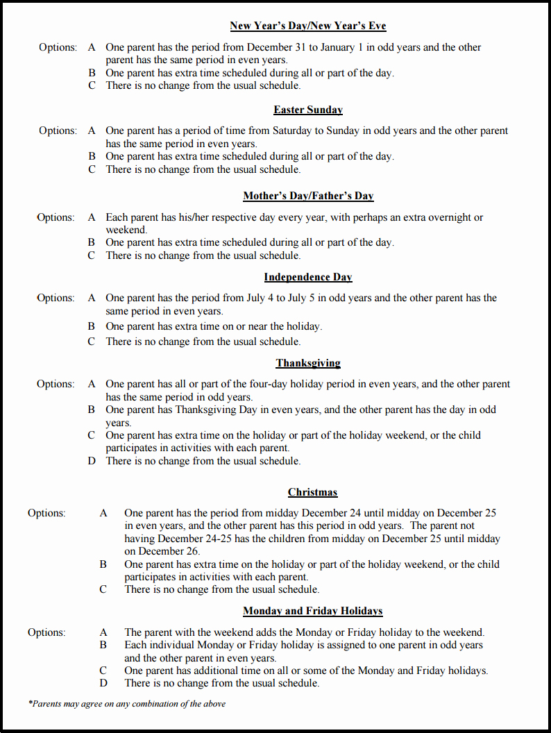 Custody Holiday Schedule Template New Sample Schedules for Splitting the Holidays During A Ca