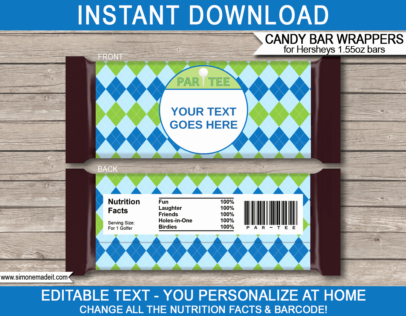 Custom Candy Wrapper Template Fresh Golf Hershey Candy Bar Wrappers