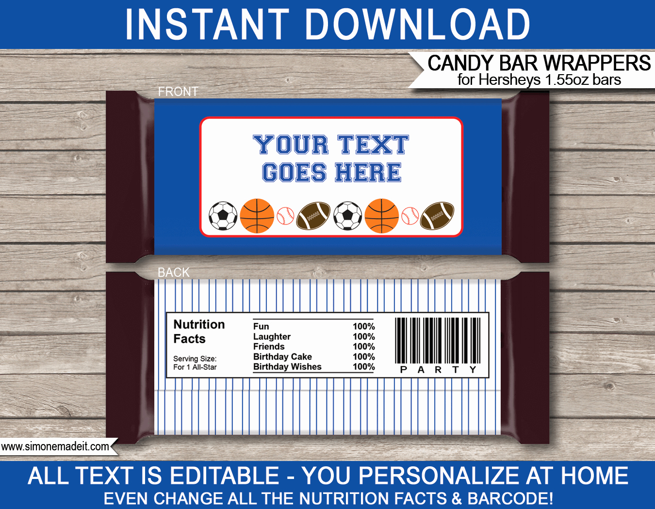 Custom Candy Wrapper Template New All Star Sports Hershey Candy Bar Wrappers