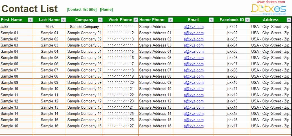 Customer Contact List Template Beautiful Basic Contact List Template Dotxes