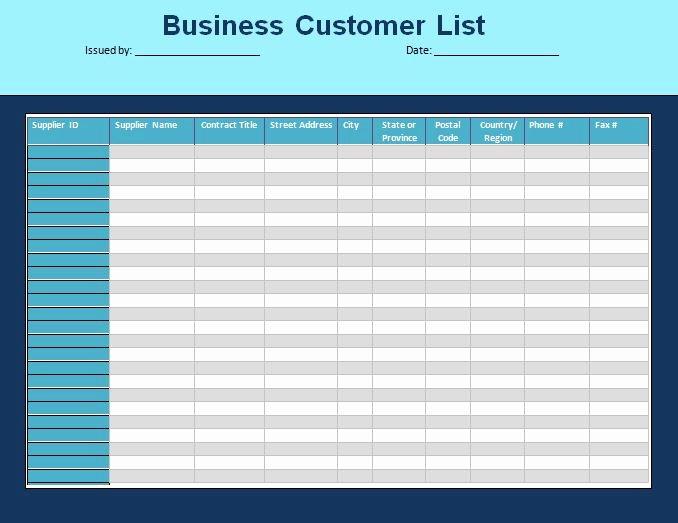 Customer Contact List Template Fresh Customer List Template