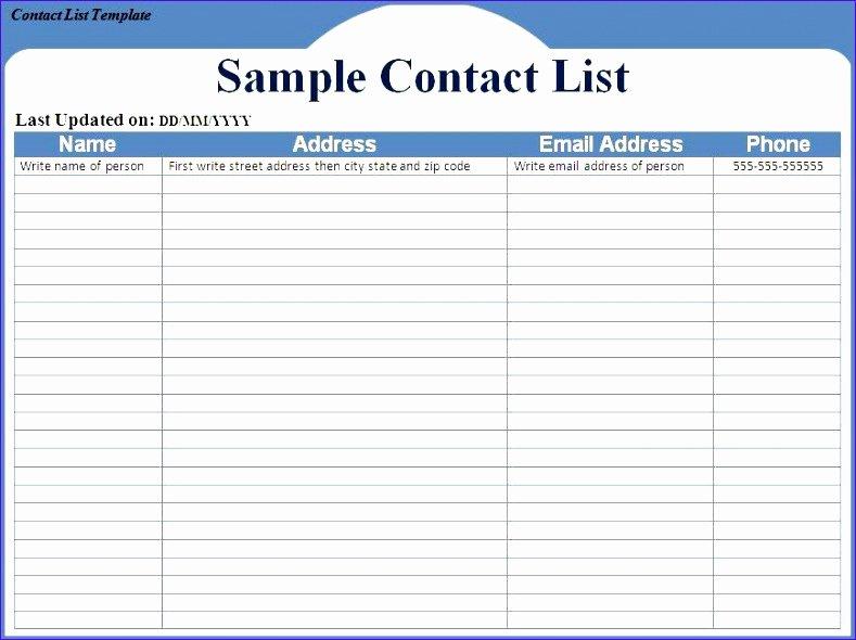 Customer Contact List Template Inspirational 12 Excel Address List Template Exceltemplates
