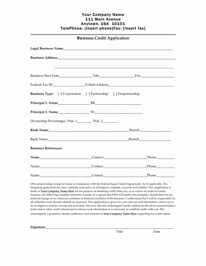 Customer Credit Application Template Awesome Credit Application form Free Documents for Pdf