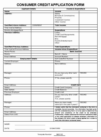 Customer Credit Application Template Best Of Ne0182 Consumer Credit Application form Template – English