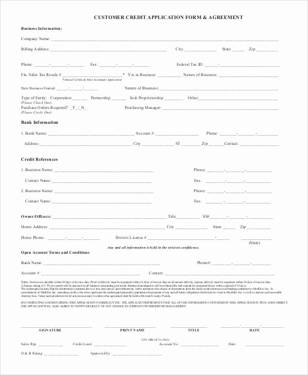 Customer Credit Application Template Elegant 66 Basic Application forms