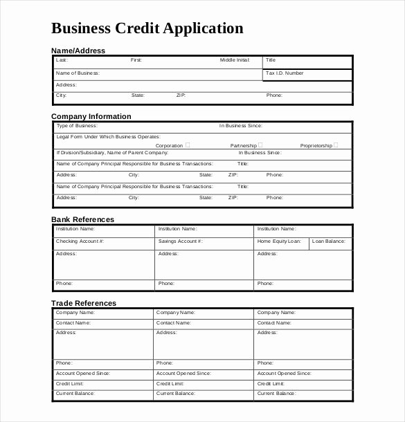 Customer Credit Application Template Fresh Credit Application Template 33 Examples In Pdf Word
