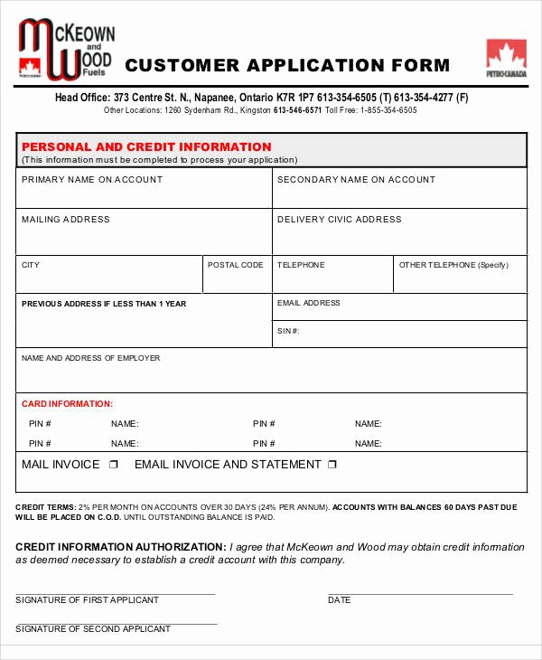 Customer Credit Application Template Lovely 57 Application form formats