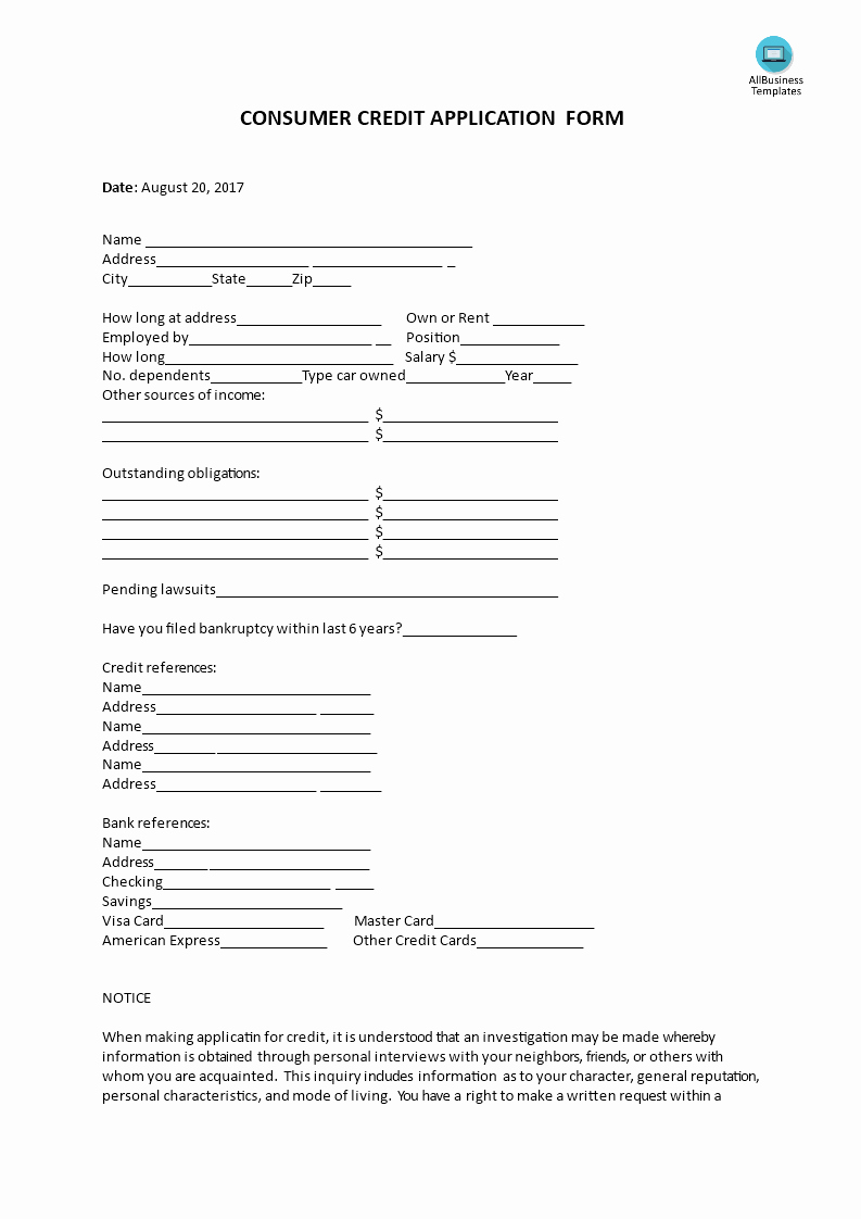 Customer Credit Application Template Luxury Consumer Credit Application form