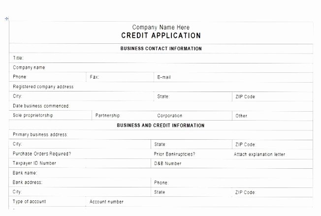 Customer Credit Application Template Unique Credit Application forms 9 Documents Free Download In