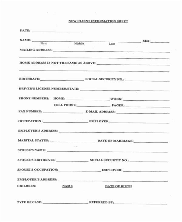 Customer Information form Template Elegant 9 Client Information Sheet Templates Free Samples