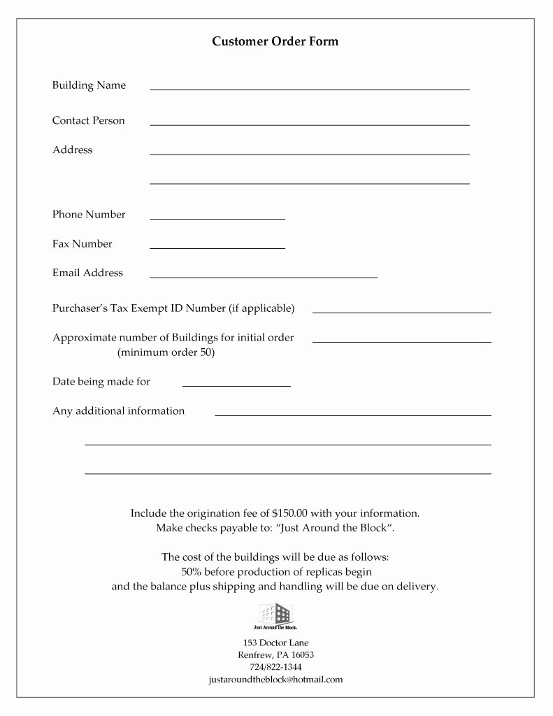 Customer Information form Template Fresh Customer Information and order form