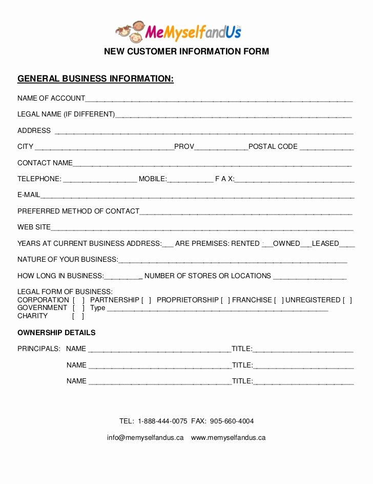 Customer Information form Template Luxury M M U New Customer form