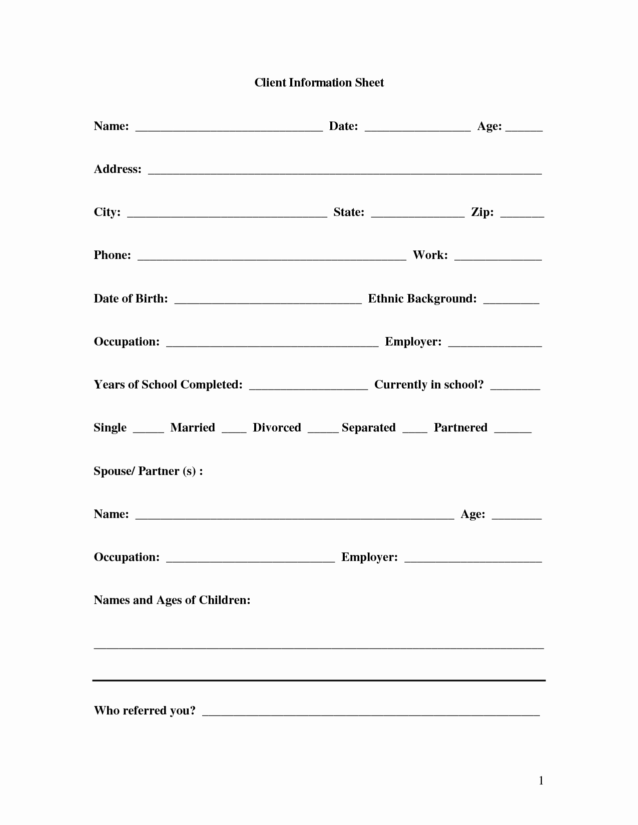 Customer Information form Template New Client Information Sheet Template 2