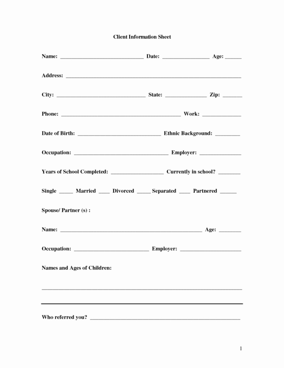 Customer Information form Template Unique 8 Client Information Sheet Templates Word Excel Pdf formats