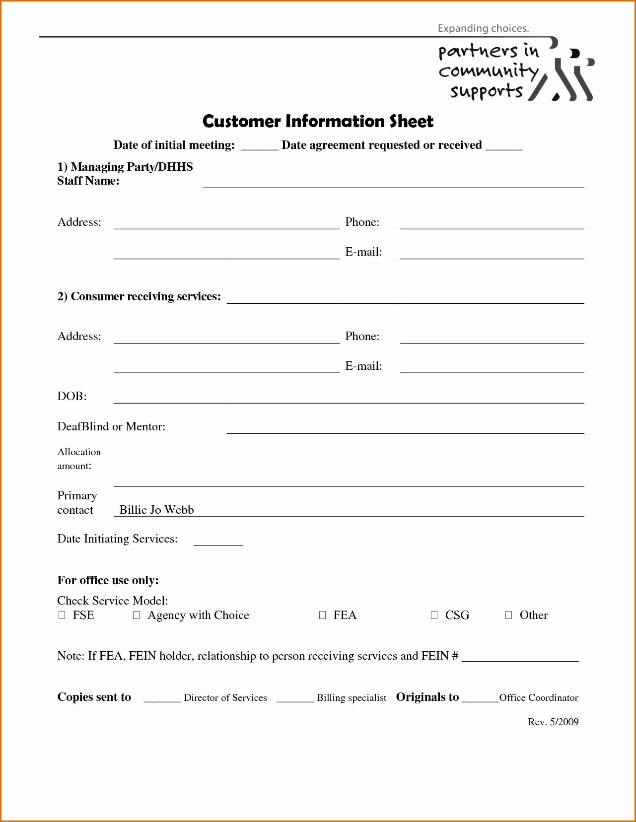 Customer Information Sheet Template Beautiful 5 Client Information Sheet