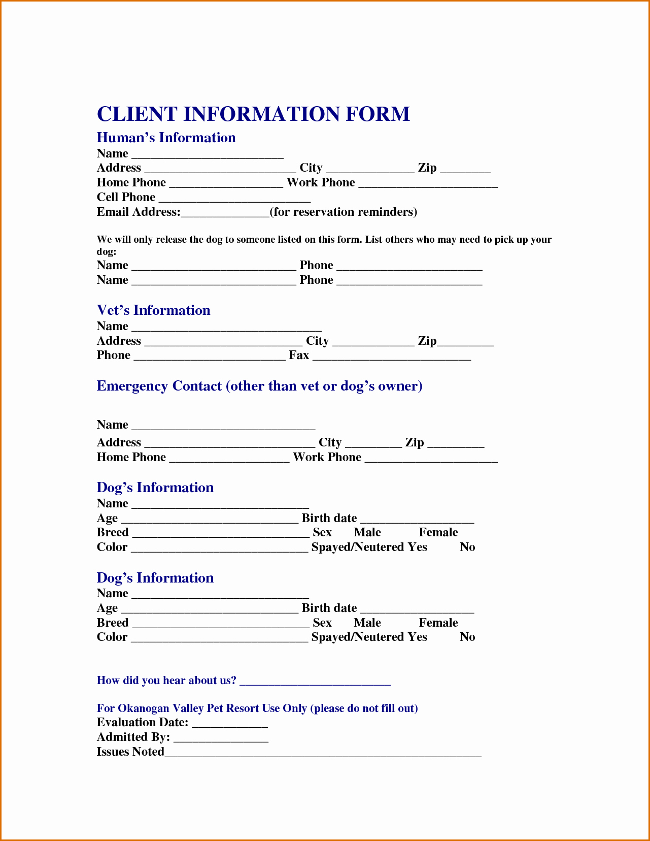 Customer Information Sheet Template Fresh 13 Customer Information form Template