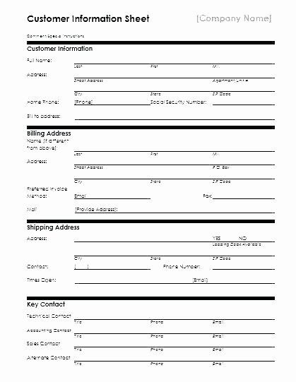 Customer Information Sheet Template Luxury Customer Contact Information Sheet Template