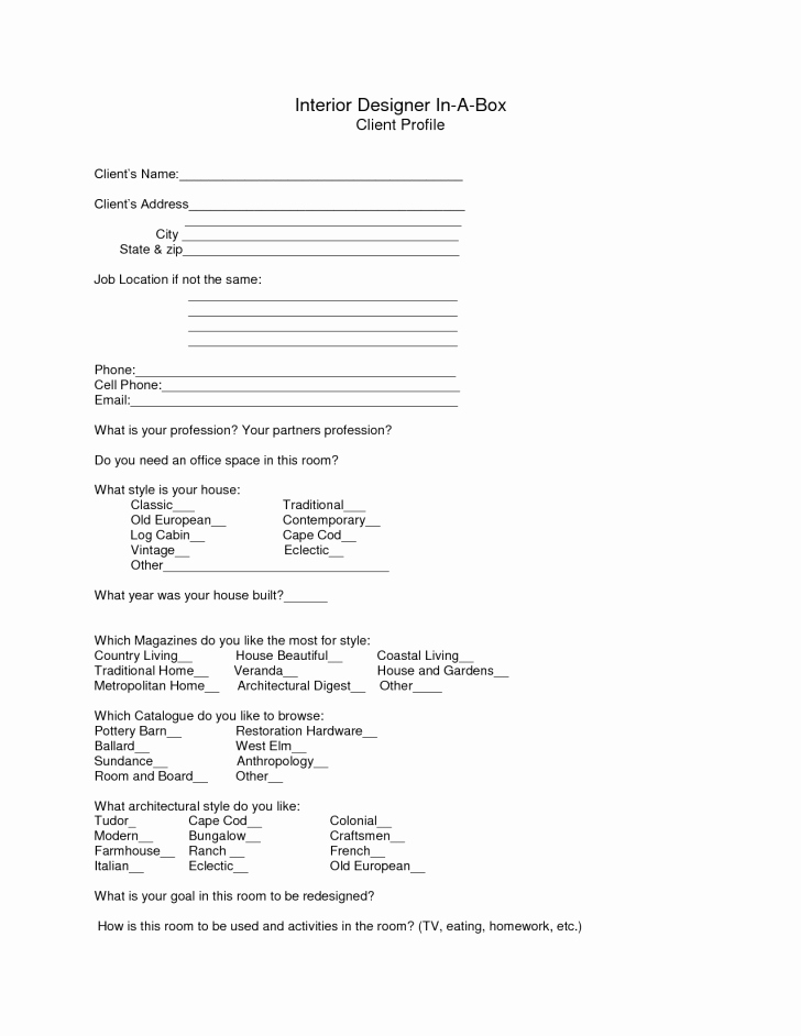 Customer Profile Template Excel Lovely Template Client Profile Sample