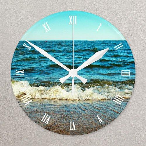 "Customizable Clock Face Template Elegant Roman Face All Over Print 10 75"" Round Acrylic Clock"