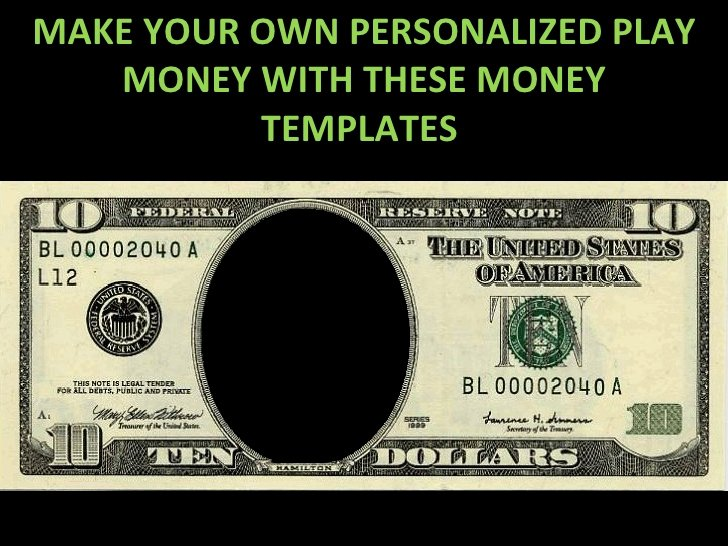 Customizable Fake Money Template Beautiful Play Money Personalized Templates 9