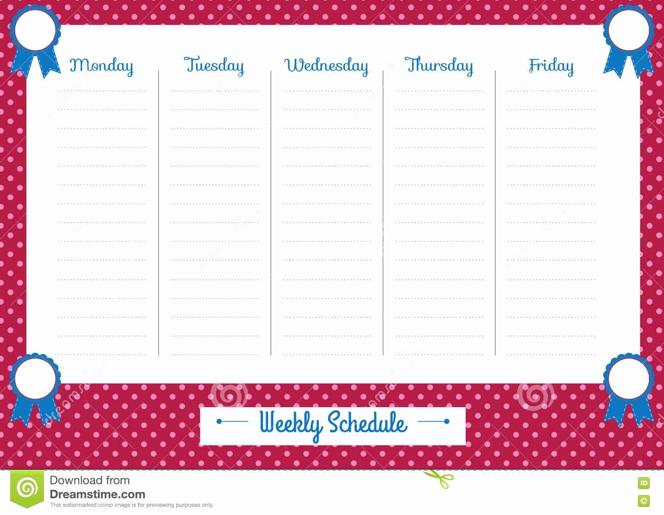 Cute Class Schedule Template Awesome Cute Weekly Planner Pink Dots Stock Vector Illustration