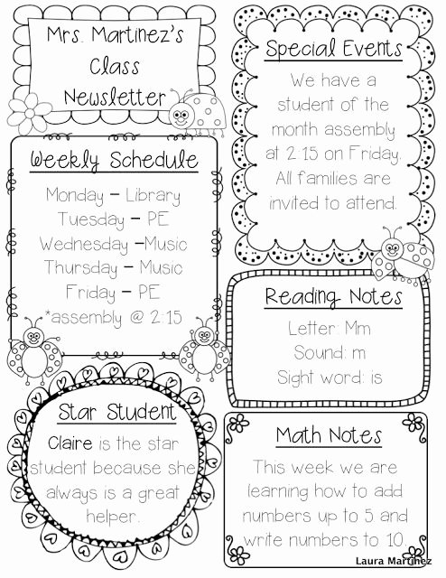 Cute Class Schedule Template Fresh Editable Class Newsletter Template Cute and Simple