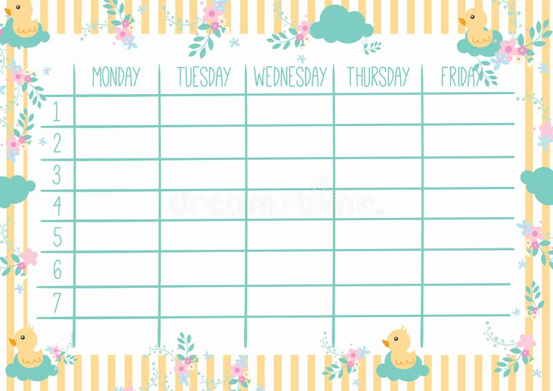 Cute Class Schedule Template New Pretty Weekly Planner Template Templates Data