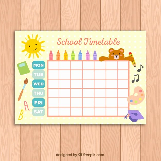 Cute Class Schedule Template Unique Cute School Timetable Template for Kids Vector