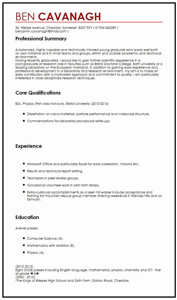 Cv Template Graduate School Awesome Cv Example for Graduate Students