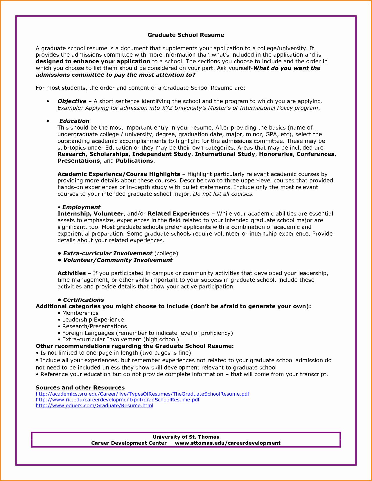 Cv Template Graduate School Inspirational 14 Graduate School Resume Objective