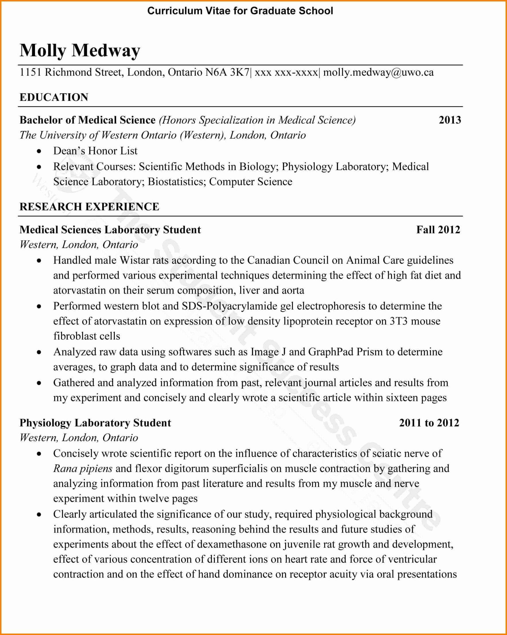 Cv Template Graduate School Unique 15 Sample Curriculum Vitae for Graduate School