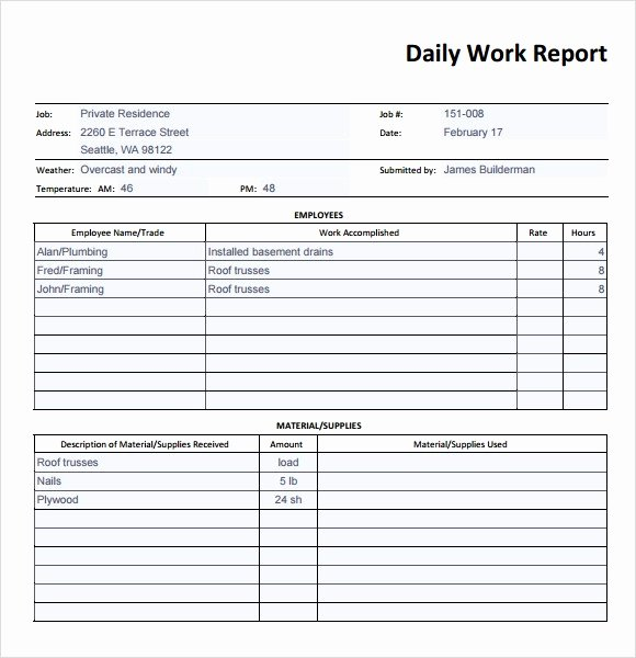 Daily Activity Report Template Awesome Daily Activity Report Sample Unique Sample Daily Report